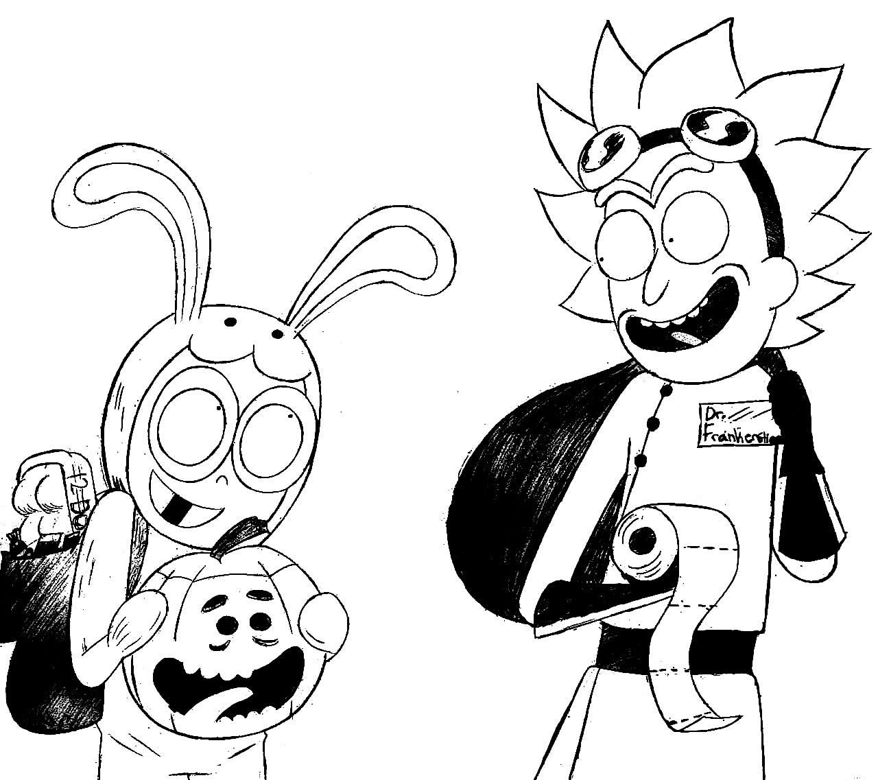 Desenho de Rick e Morty para pintar