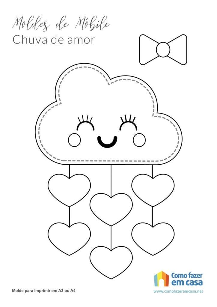 Molde nuvem chuva de amor