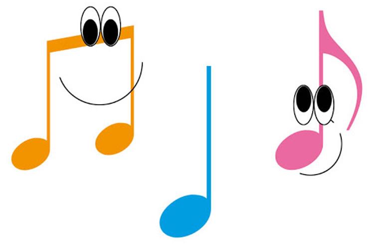 Moldes de notas musicais coloridas para imprimir
