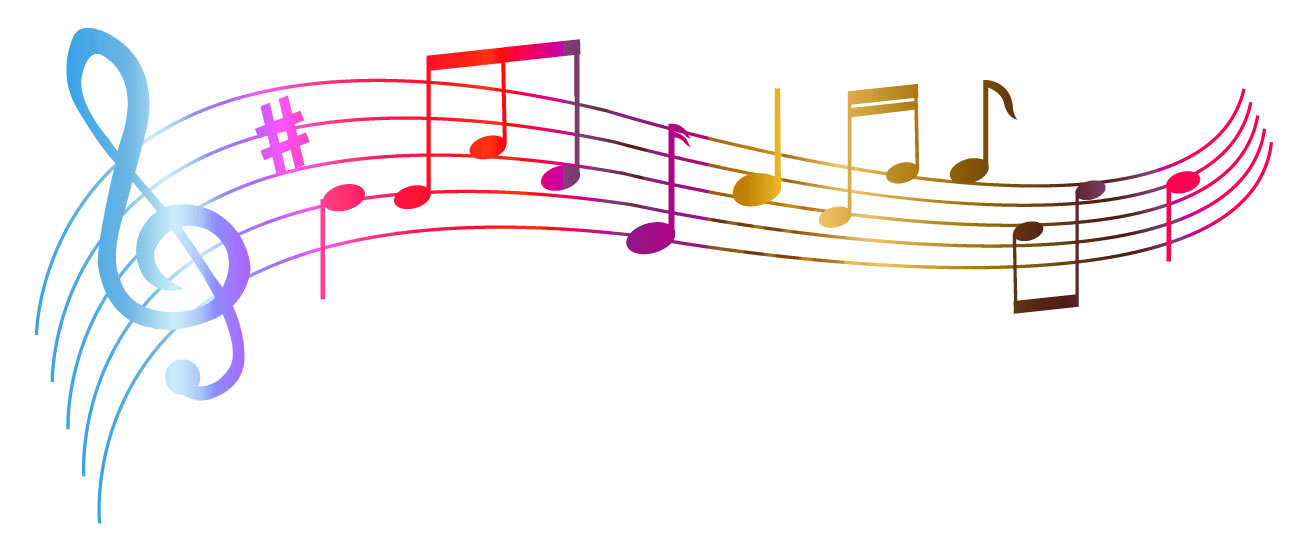 Molde de notas musicais coloridas para imprimir