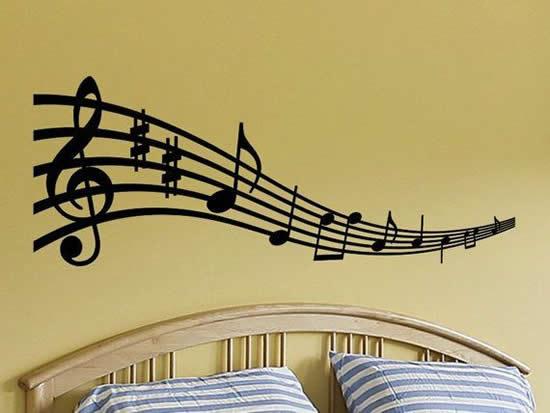 Enfeite para o quarto com notas musicais