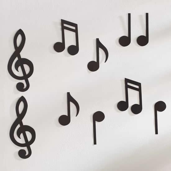 Artesanato decorativo com notas musicais