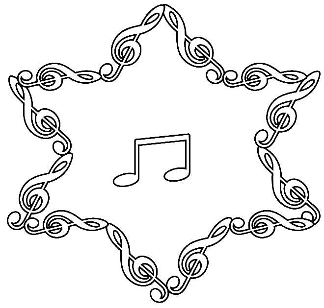 Desenho de nota musical para pintar