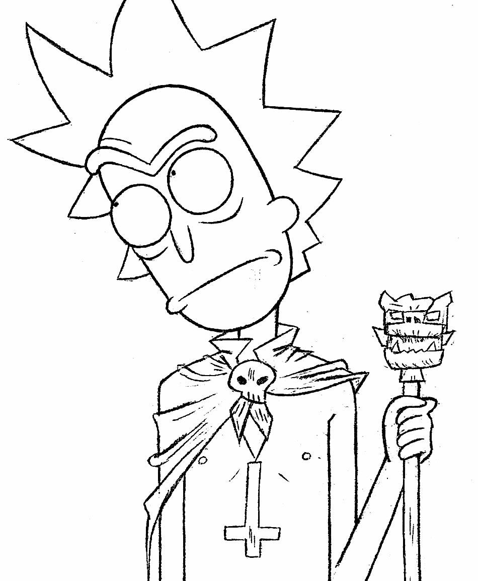Desenho para colorir de Rick e Morty