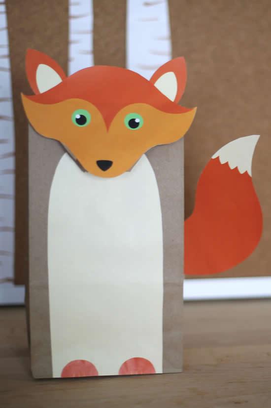 Sacolinha de papel de raposa