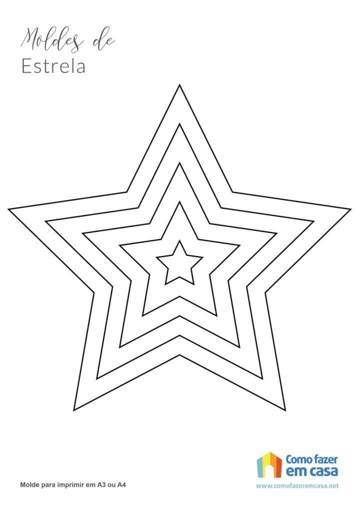 Molde de estrela para imprimir estrelas de 5 pontas