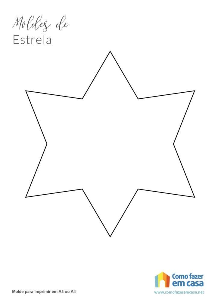 Molde de estrela para imprimir estrela de 6 pontas