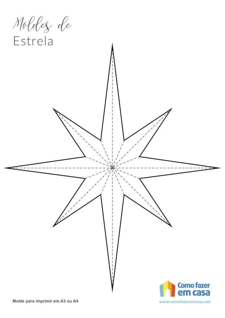 Molde de estrela para imprimir rosa dos ventos