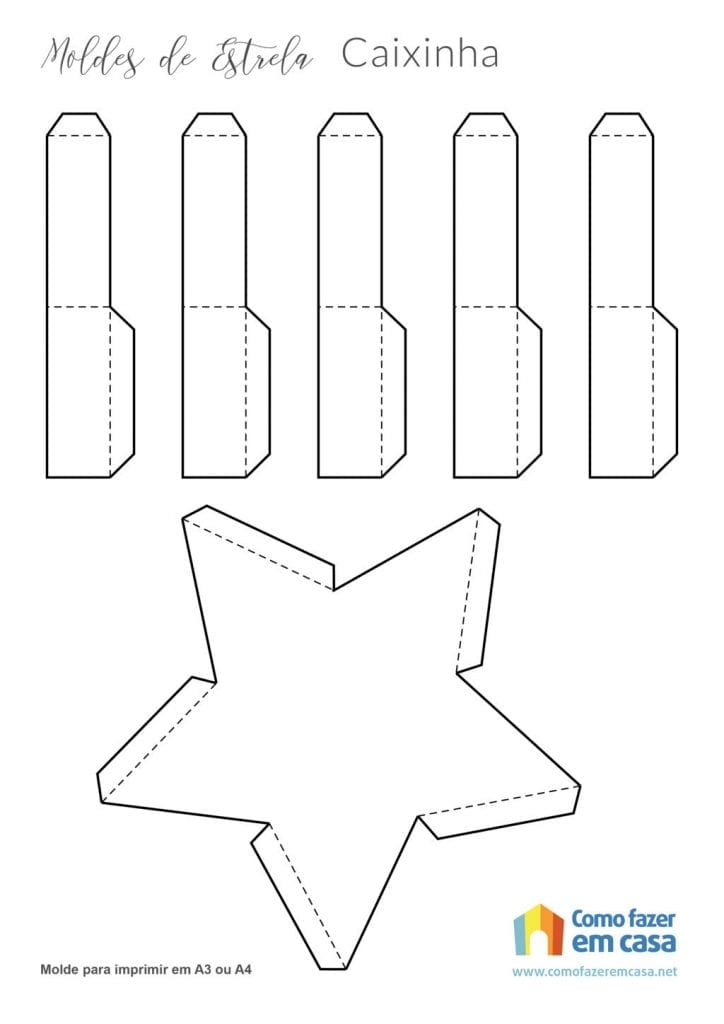 Molde de estrela para imprimir Caixa em forma de estrela para imprimir