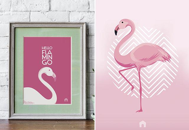 Quadros de flamingo