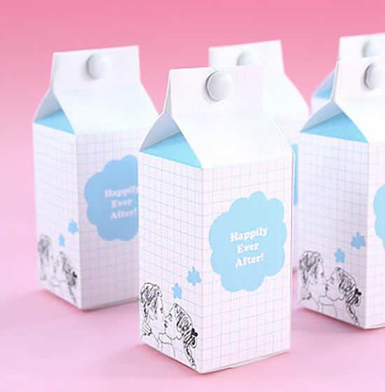 Lembrancinha milk com papel