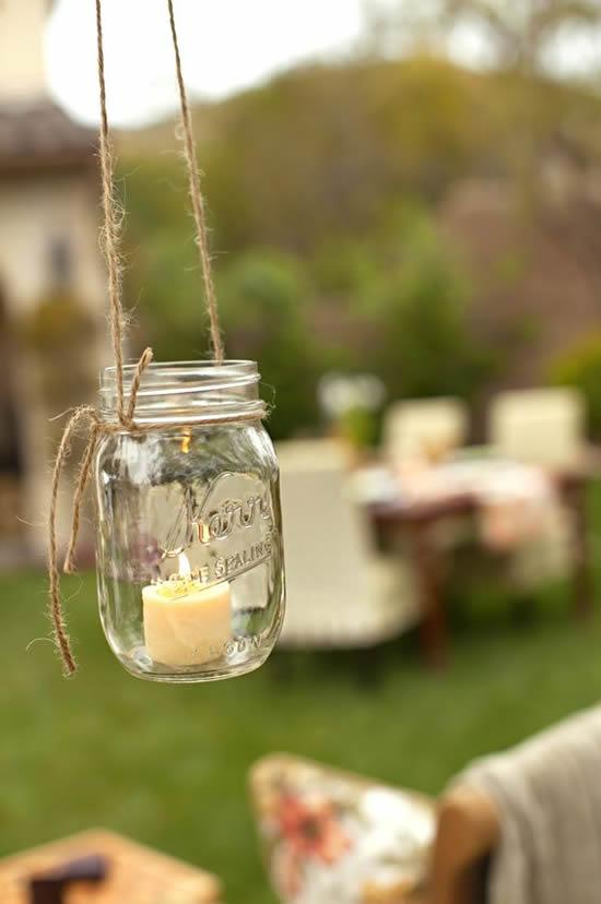 Decoração com potes de vidro