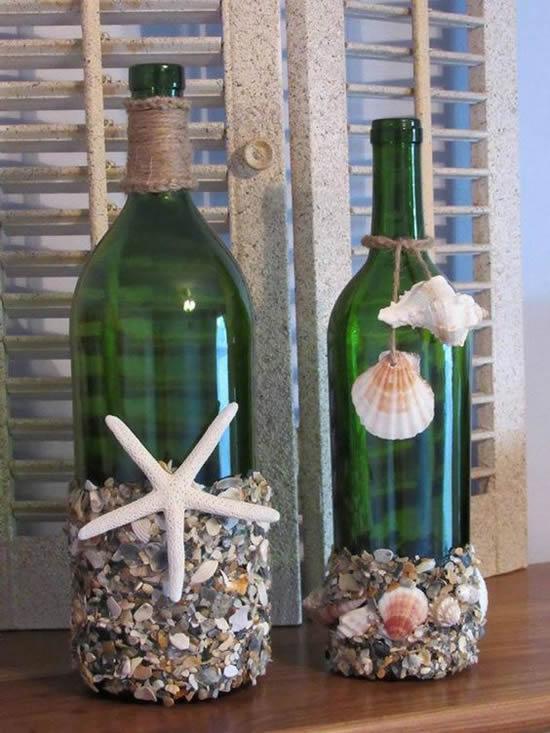 Decoração com garrafas de vidro