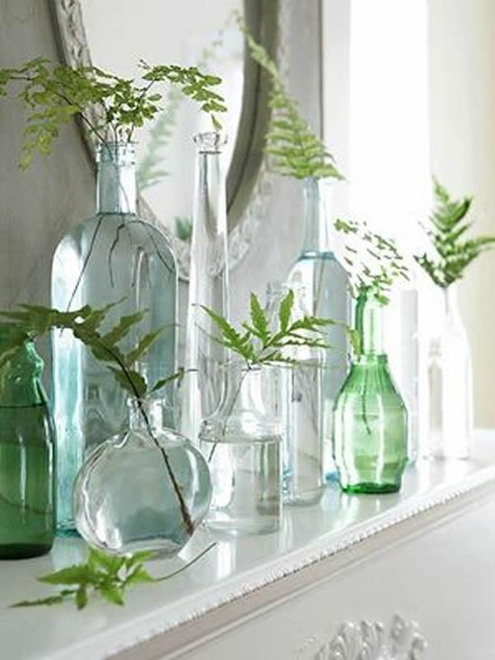 Enfeites lindos e criativos com garrafas de vidro