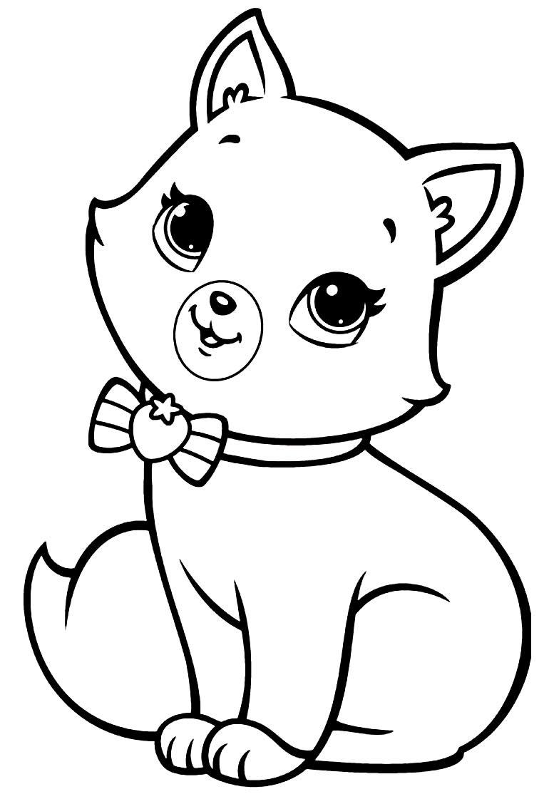 Desenho para colorir do gatinho de Polly Pocket