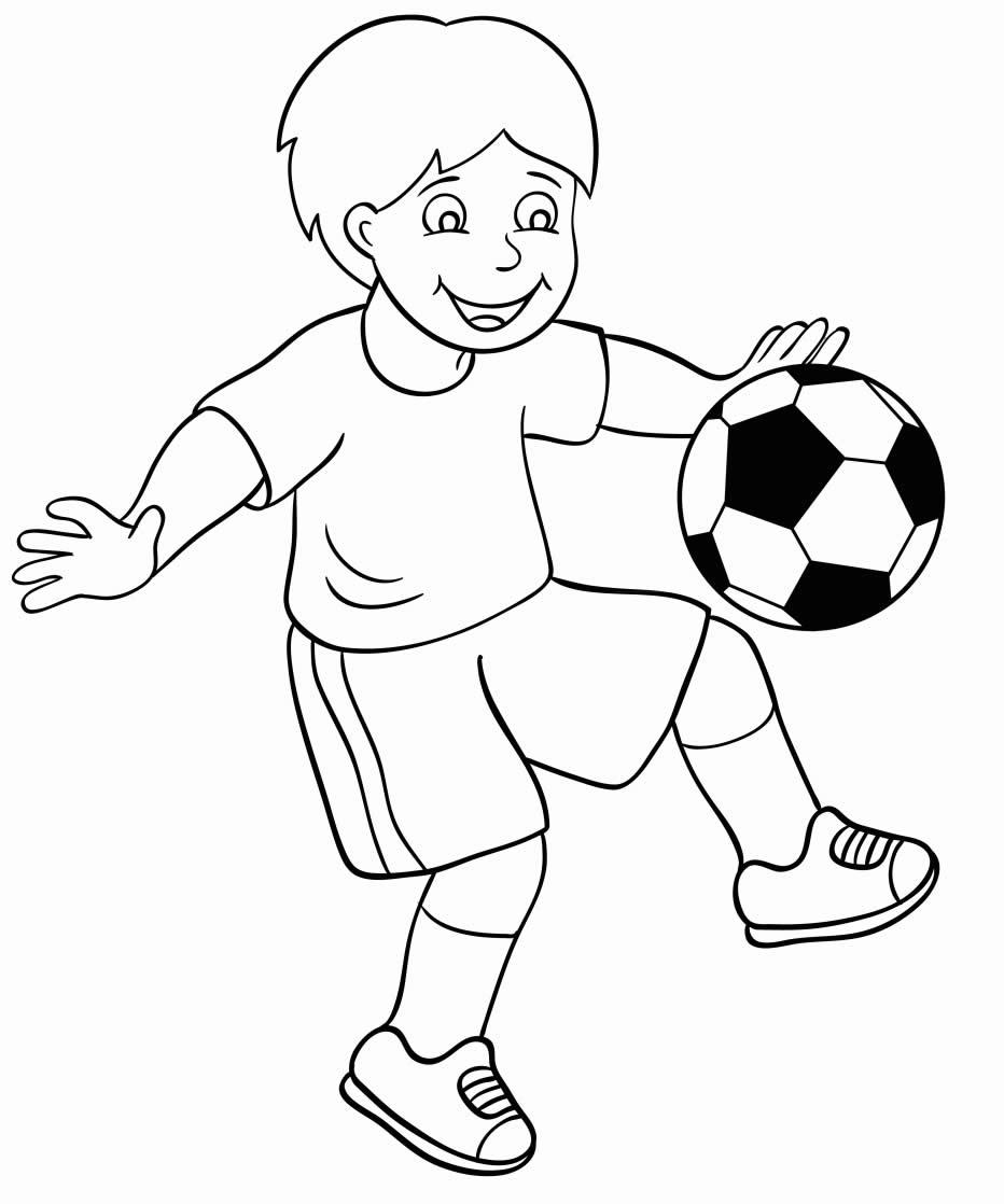 Desenho de jogador e bola de futebol para colorir
