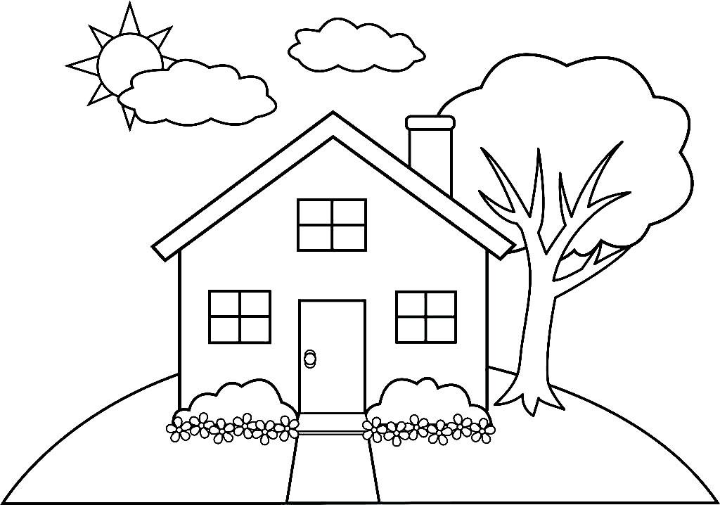 Imagem de casa para colorir