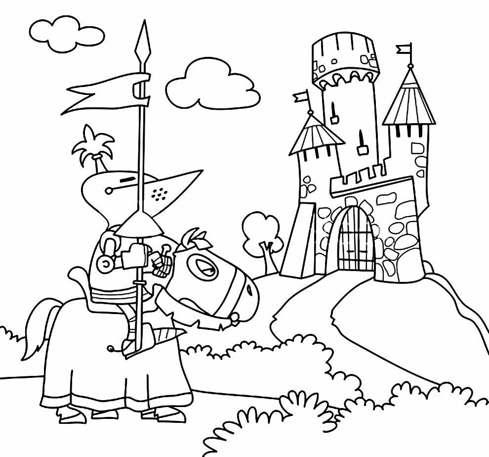 Desenho para colorir de castelo