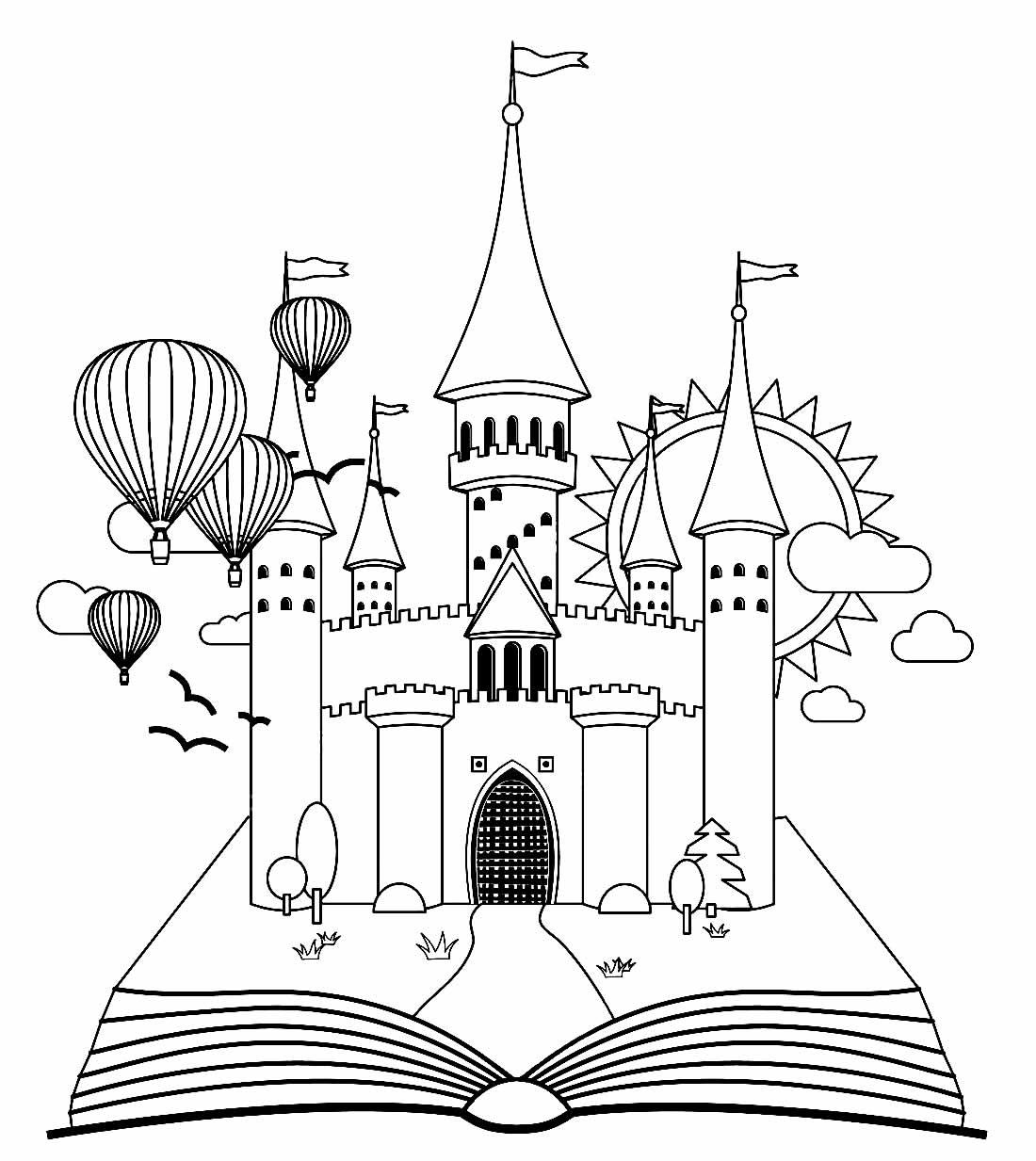 Desenho para pintar de castelo