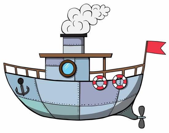 Desenho de Barco colorido