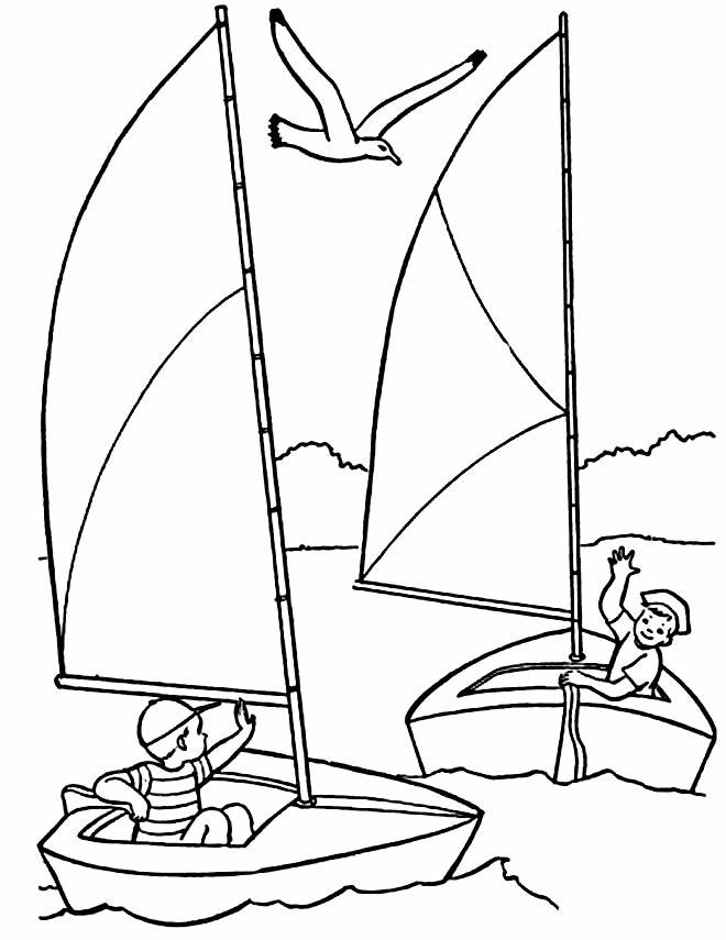 Desenho de barcos para colorir