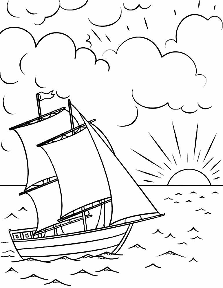 Desenho de barco para pintar