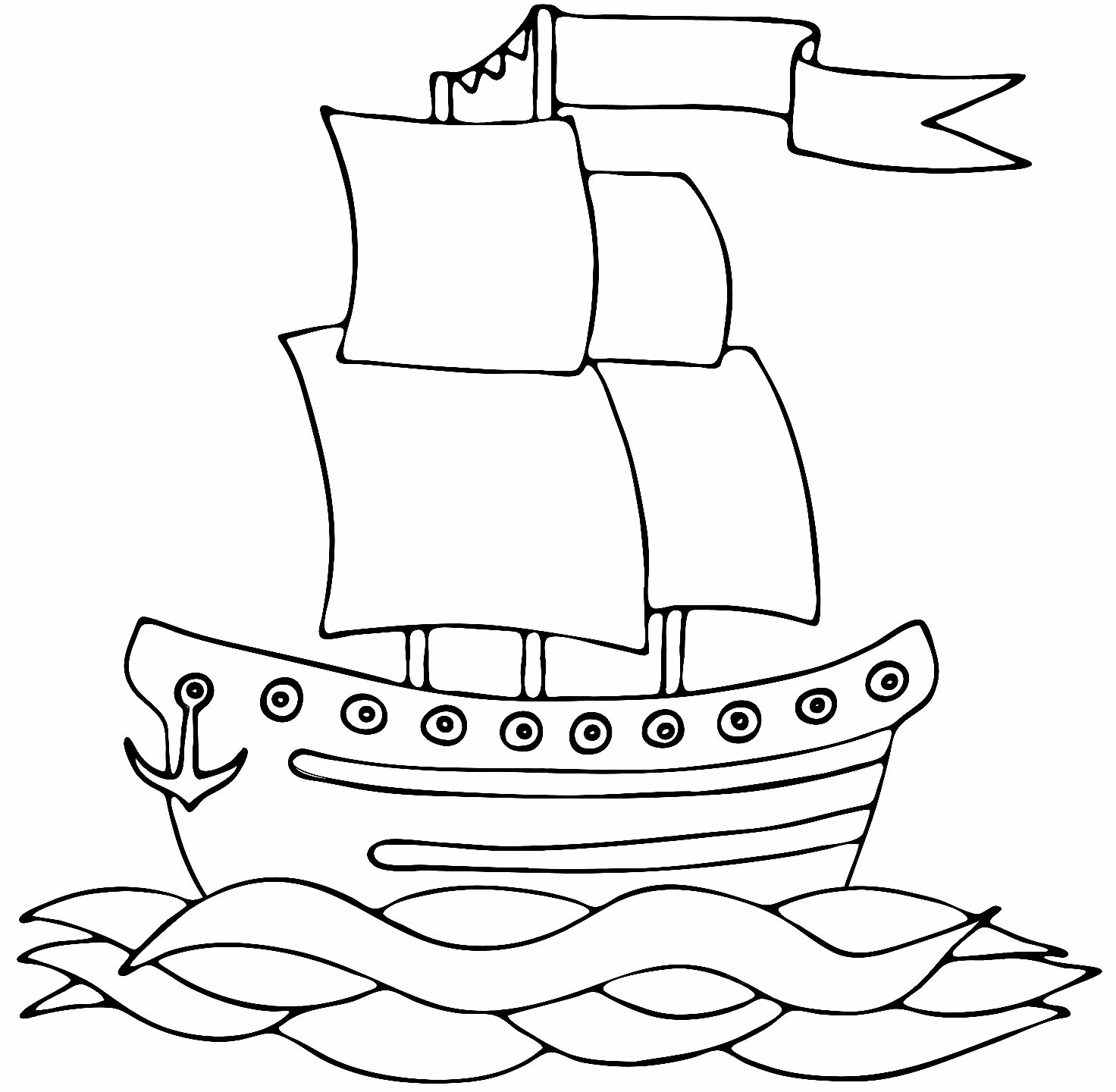 Desenho de barco para colorir