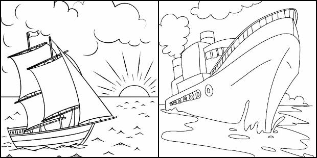 Desenhos de barcos e navios para colorir