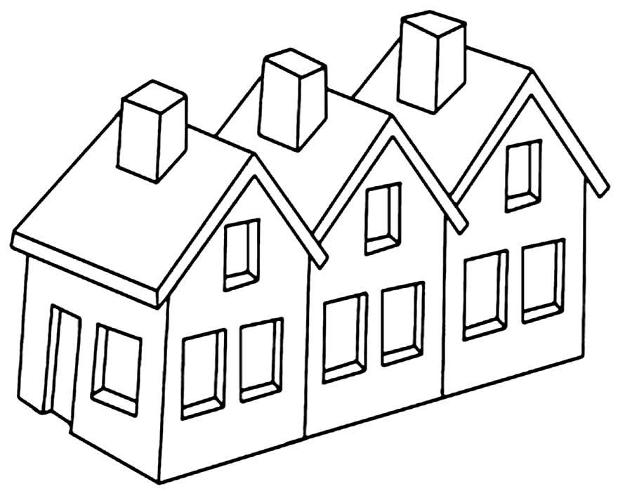 Desenho de casa para pintar e colorir