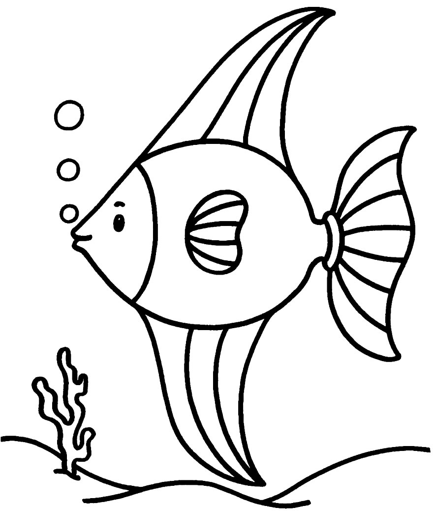 Desenho de peixe no fundo do mar para pintar