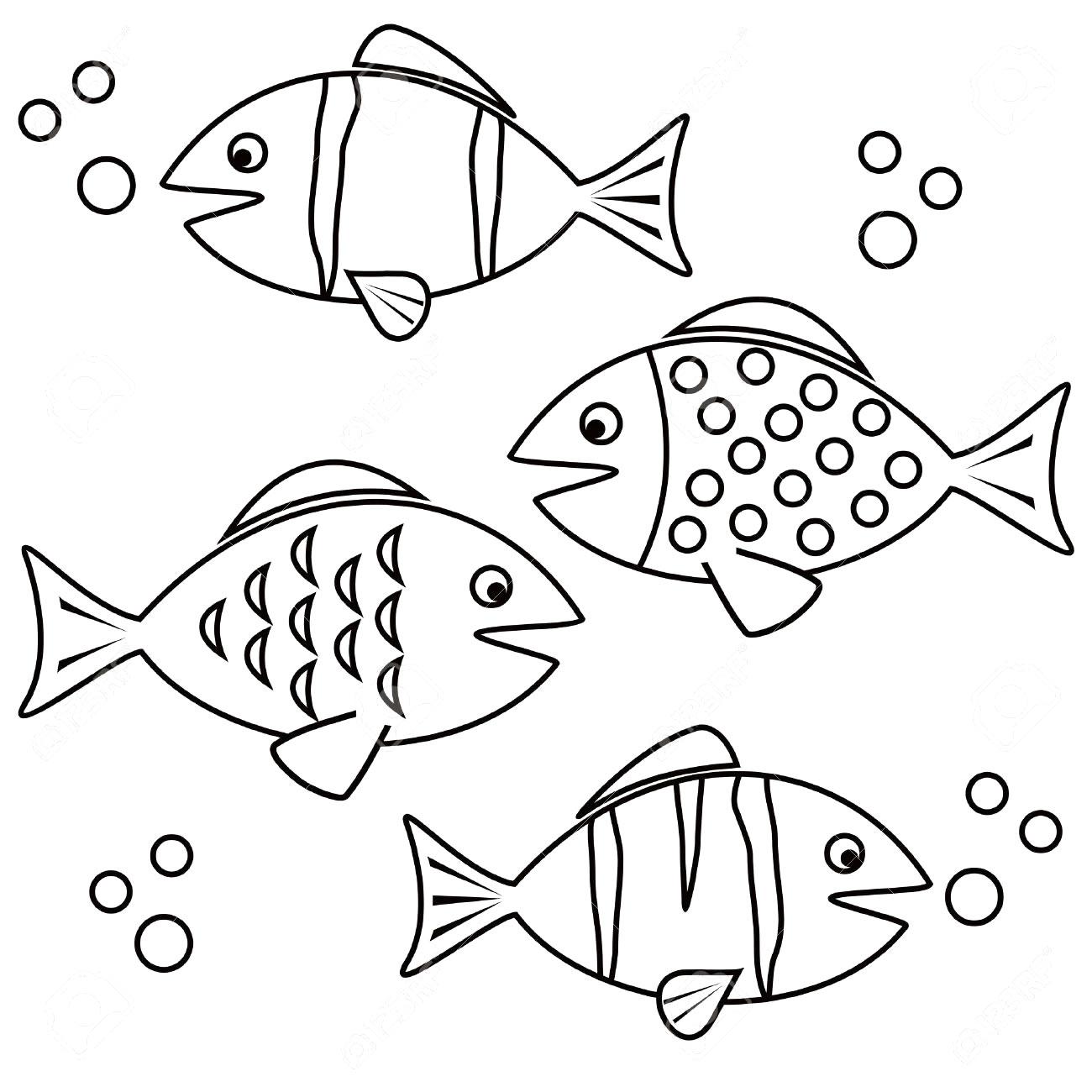 Desenho de peixes no fundo do mar para pintar