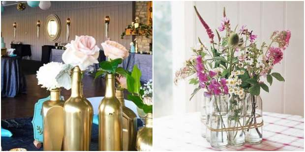 Arranjos de flores em garrafinhas de vidro