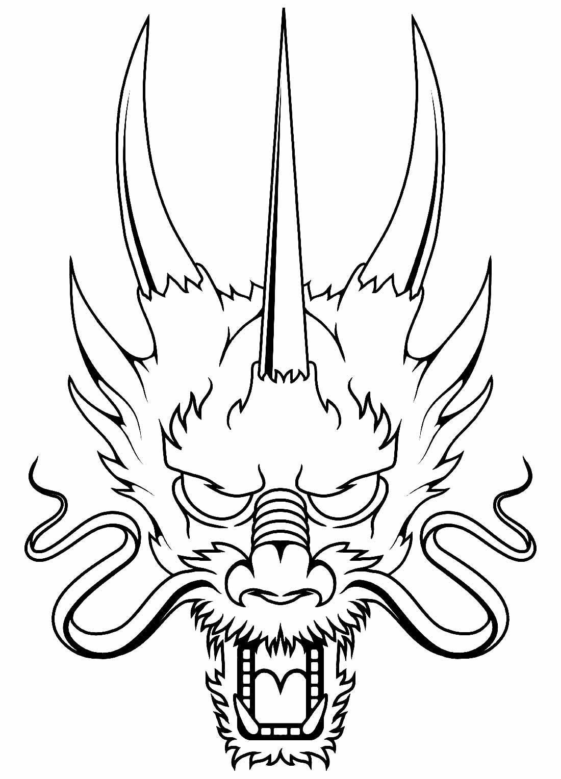 Desenho de Dragão Oriental para colorir