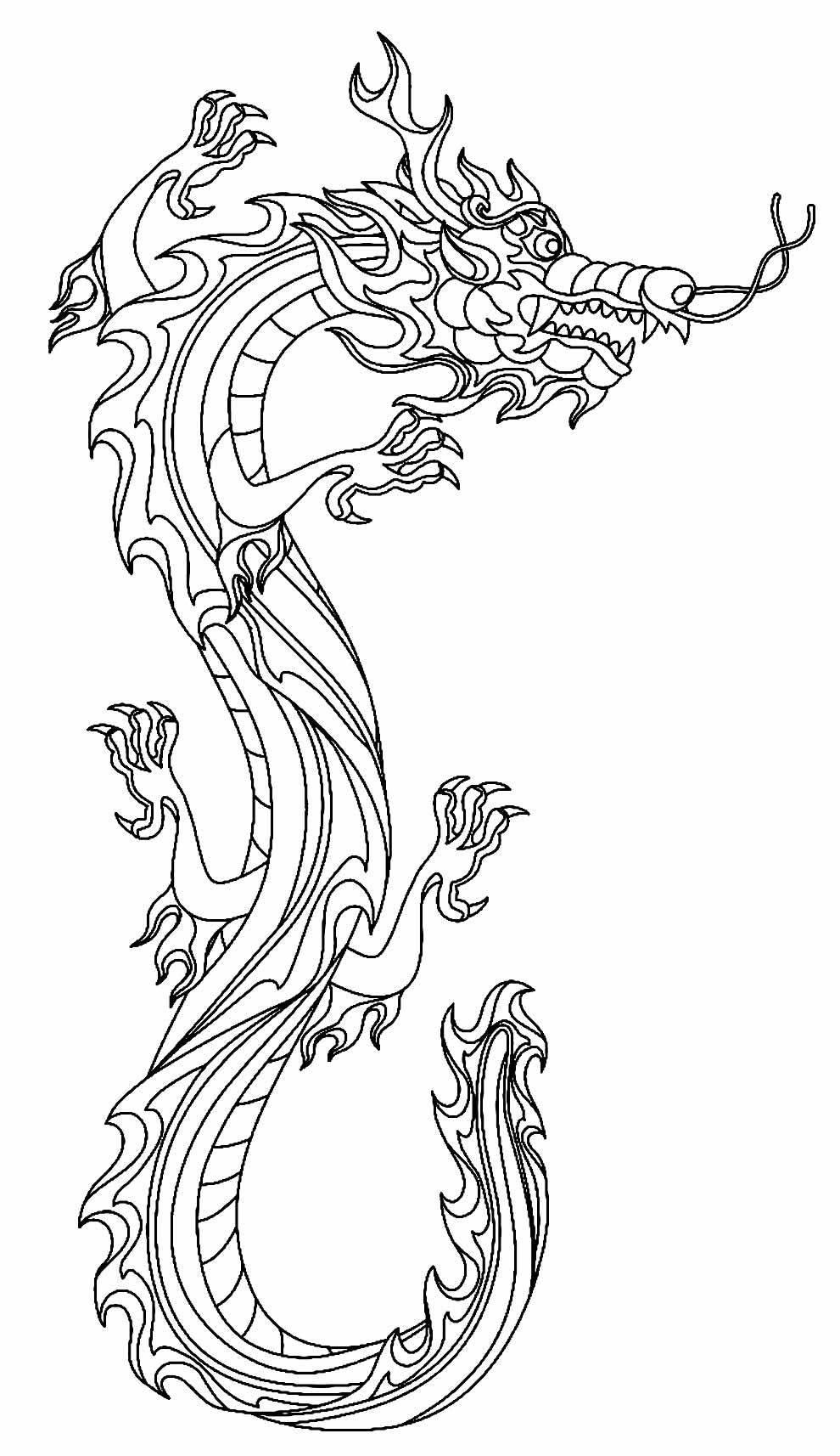 Desenho de Dragão Oriental para pintar