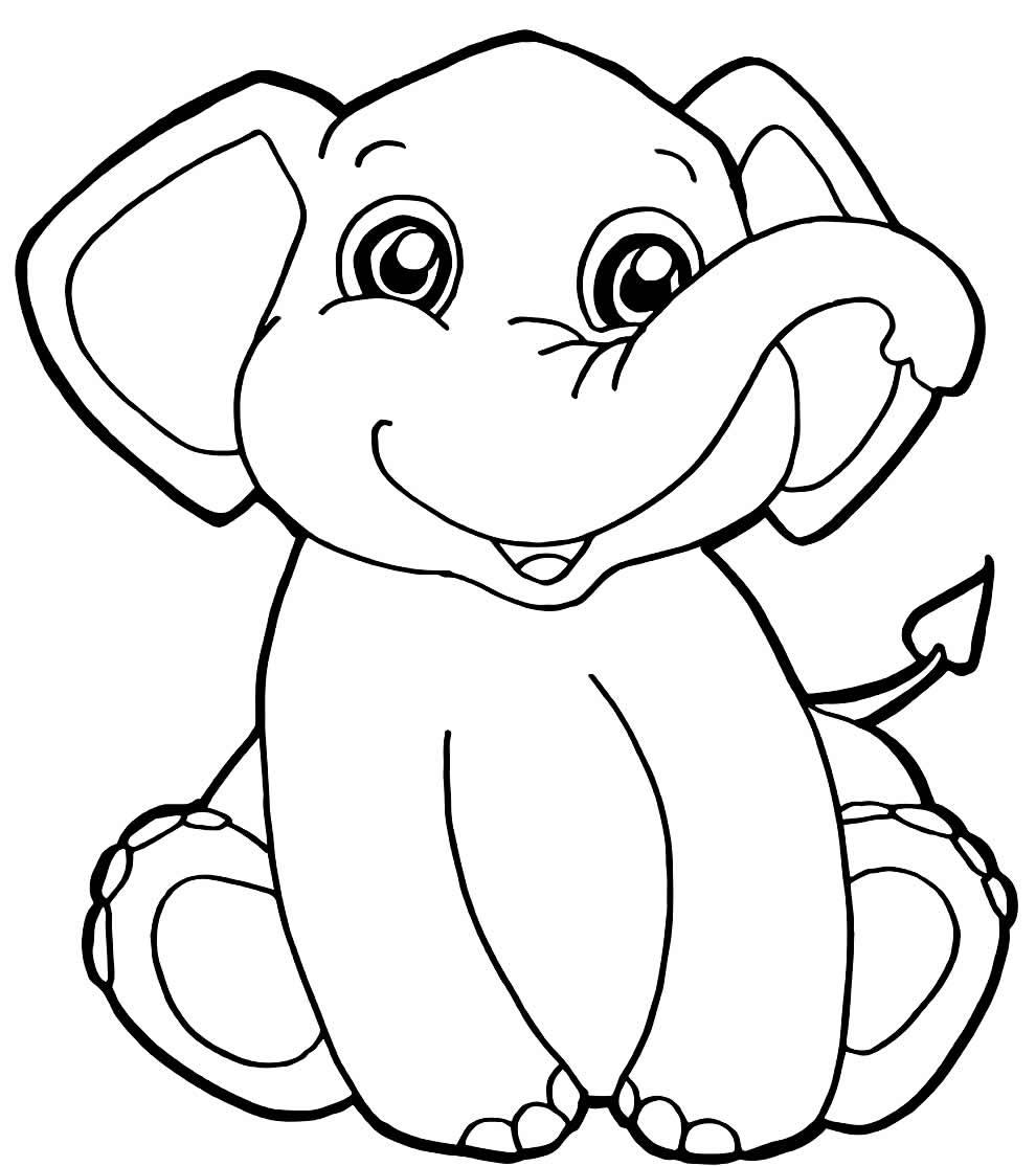 Desenho de elefantinho para pintar