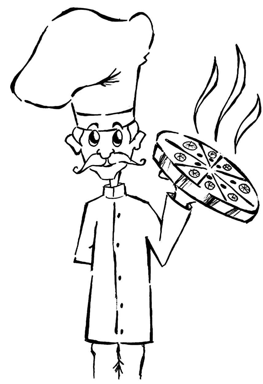 Desenho de Pizzas para colorir