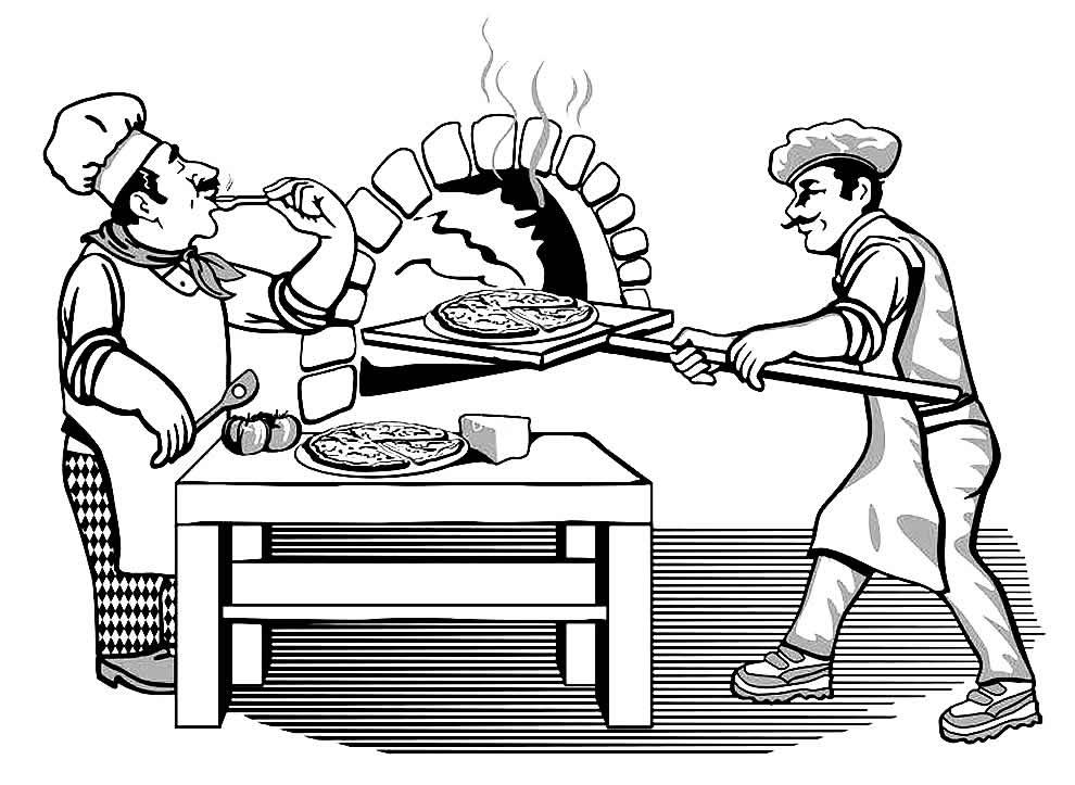 Desenho de Pizzaiolo