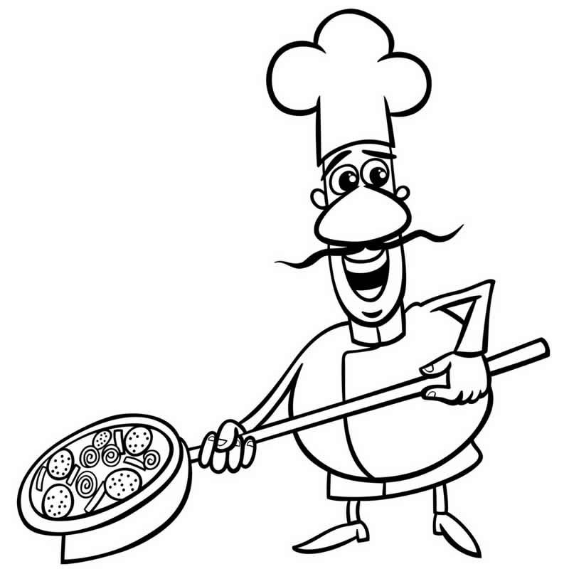 Desenho de Pizzaiolo para colorir
