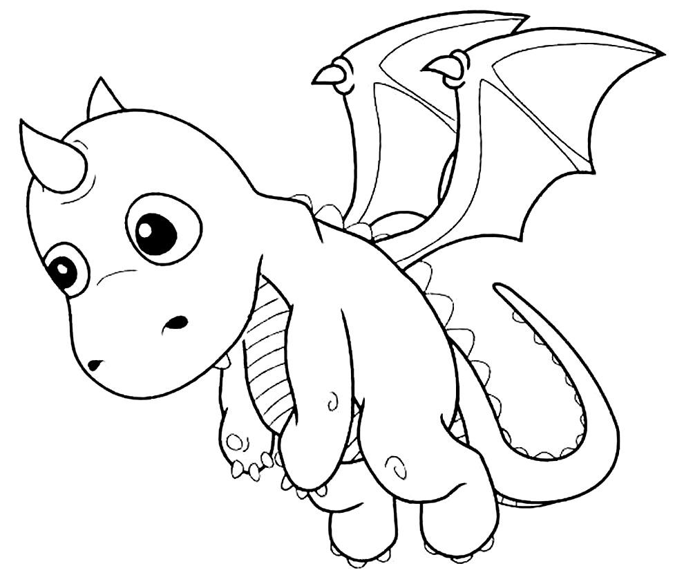Molde de dragão para colorir