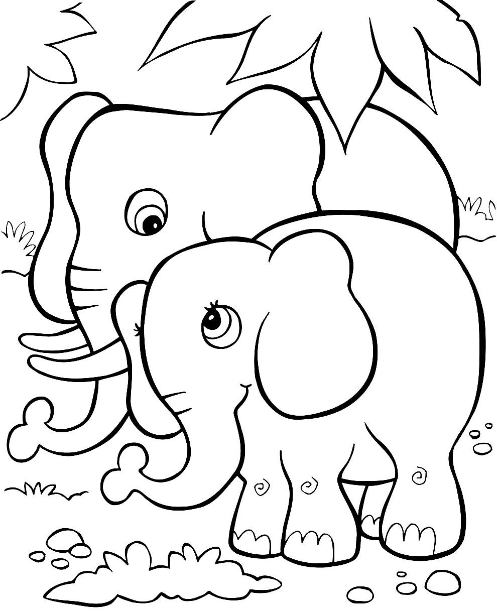 Desenho de elefantes para colorir