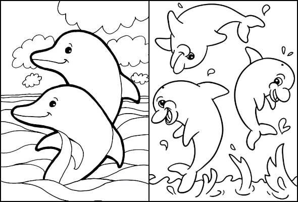 Desenhos de golfinhos para colorir