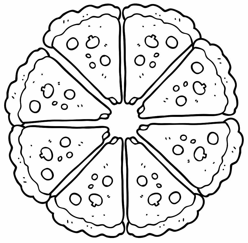 Desenho de pizza para colorir