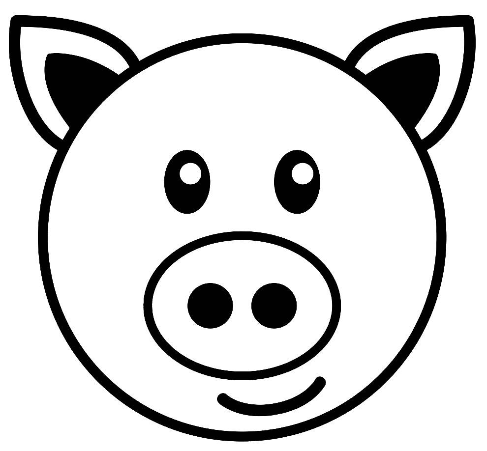 Máscara de porquinho para colorir e recortar