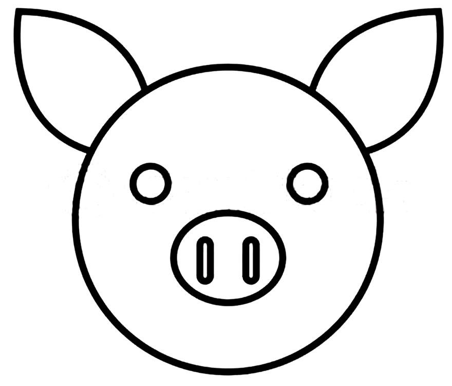 Máscara de porquinho para recortar e colorir