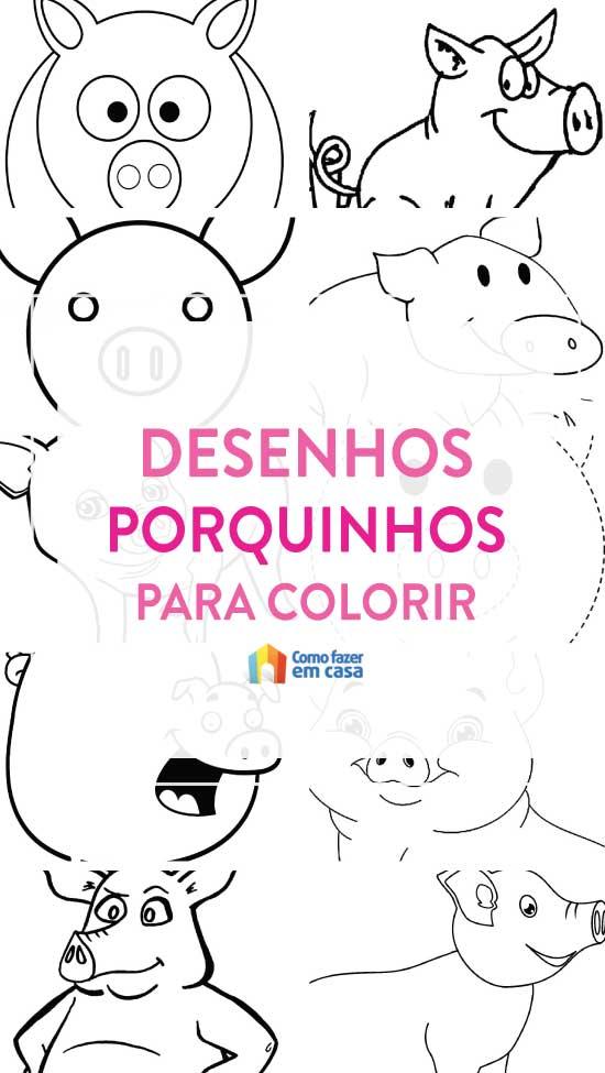 20 desenhos de porquinhos para colorir