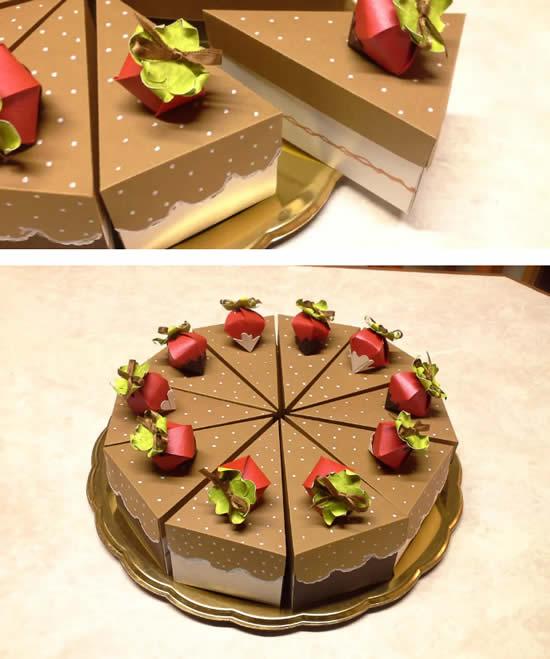 Caixinha de papel - Fatia de bolo - Bolo falso com molde