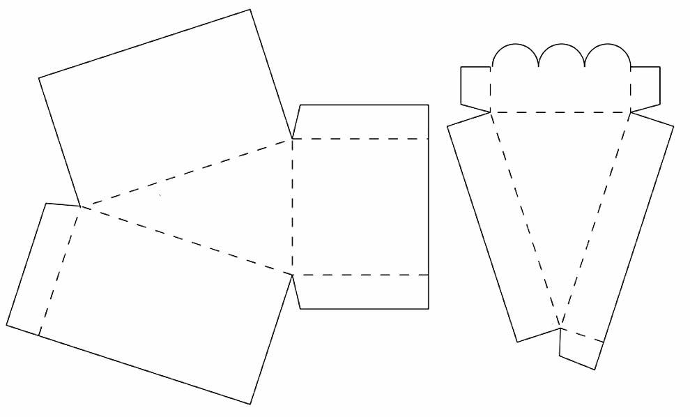 Molde para caixinha de papel - Fatia de bolo - Bolo falso