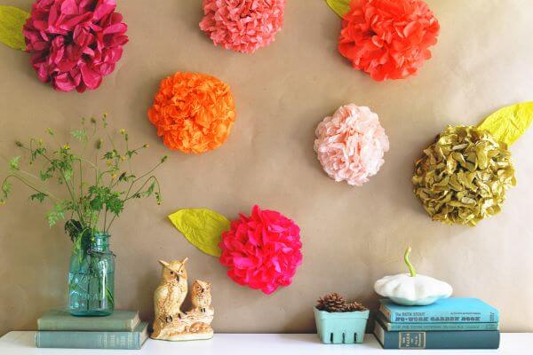 decoração com flores de papel