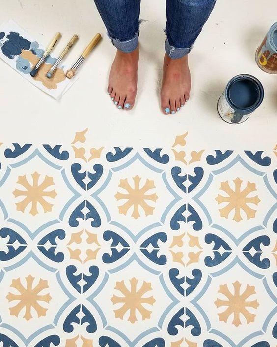 como pintar azulejos com estêncil