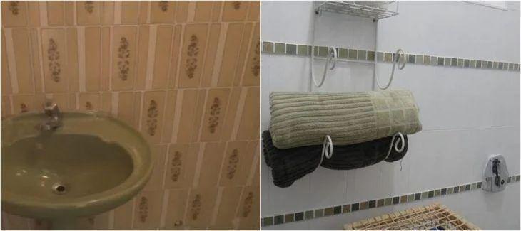 Antes e depois com azulejos pintados